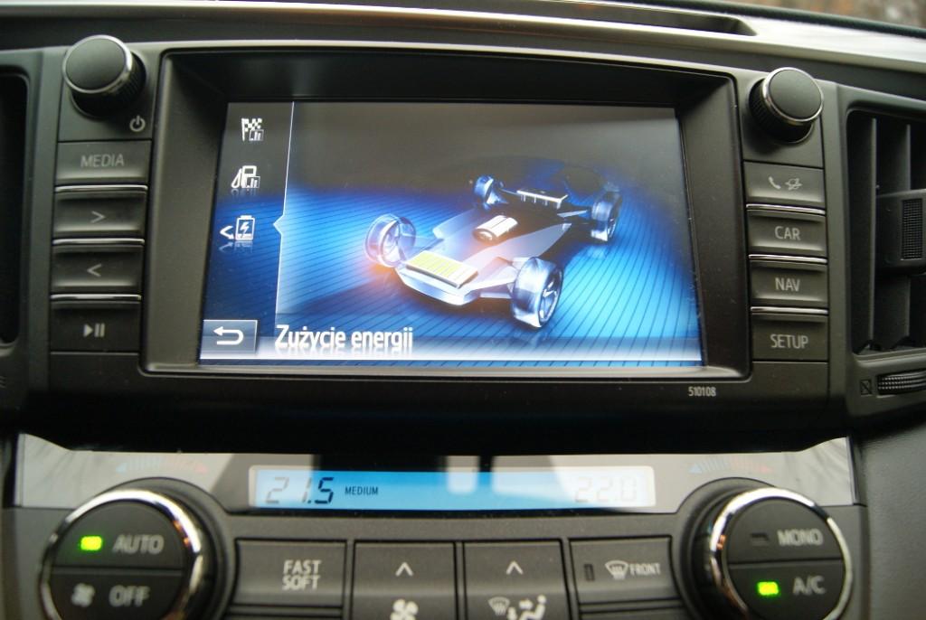 Podczas jazdy cały czas otrzymujemy informację czy samochód korzysta ze silnika spalinowego, elektrycznego, czy obu jednocześnie